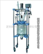 济南超低槽配双层玻璃反应釜  深圳超杰价格 夹层玻璃反应釜